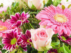 Bunte Sommer Blumen im Bouquet im Detail
